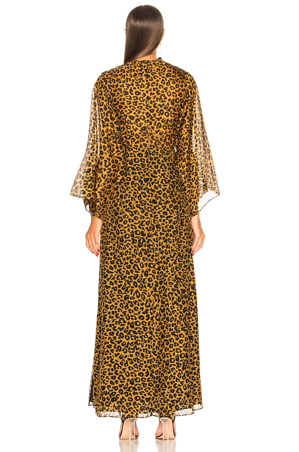 Image 4 of Michelle Mason Long Sleeve Plunge Gown in Tan Leopard