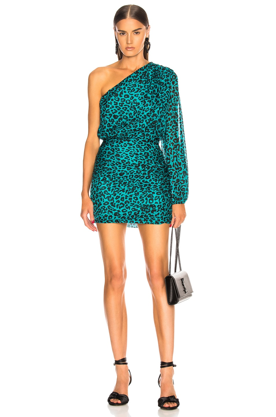 Image 1 of Michelle Mason One Sleeve Mini Dress in Teal Leopard