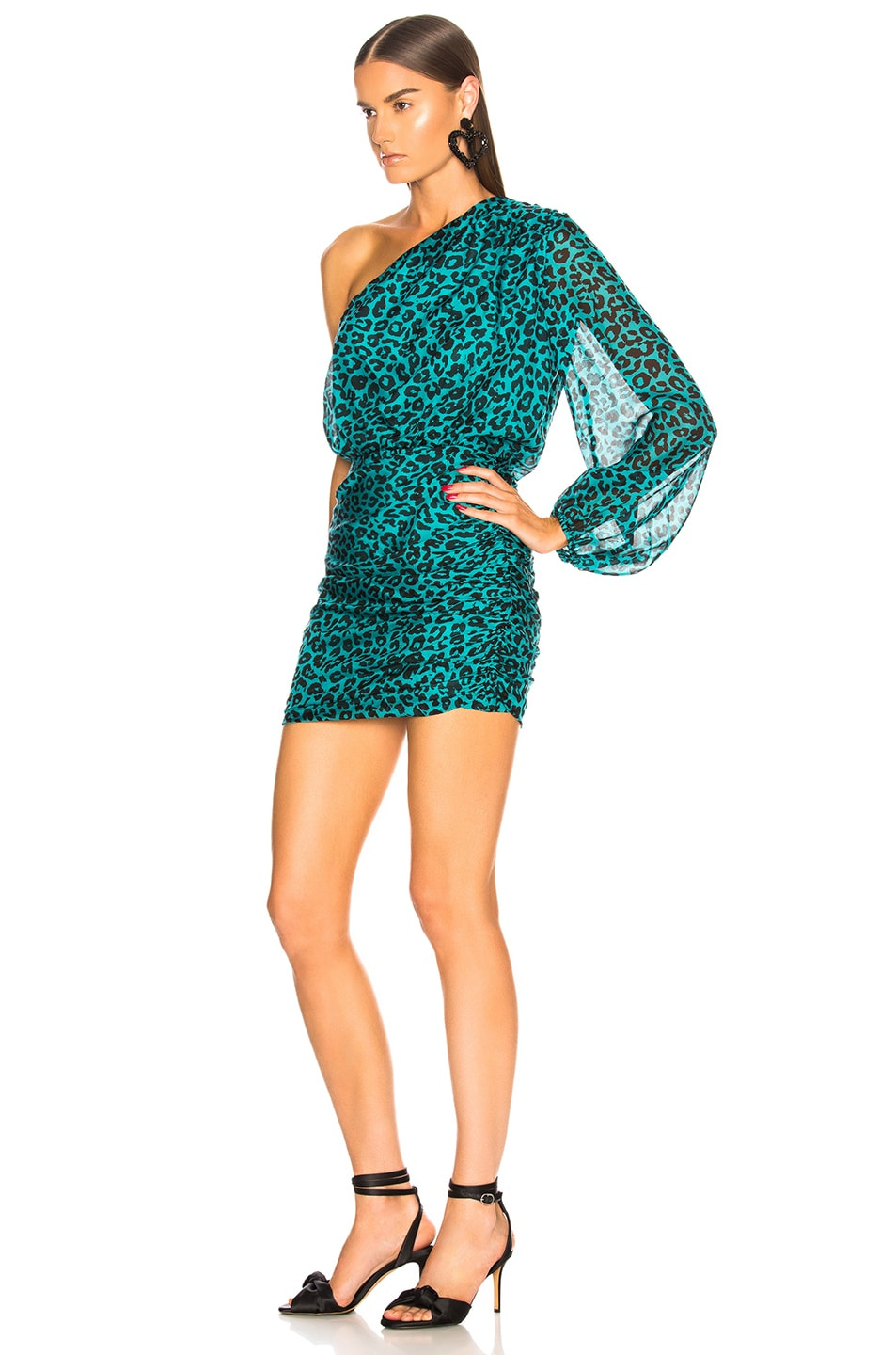 Image 3 of Michelle Mason One Sleeve Mini Dress in Teal Leopard