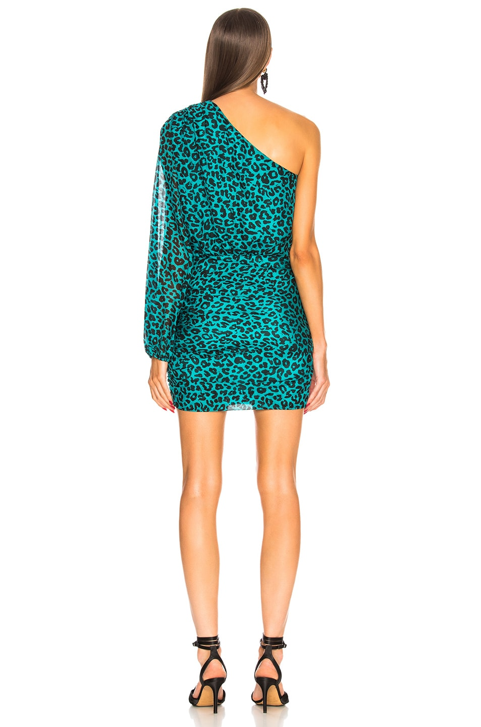 Image 4 of Michelle Mason One Sleeve Mini Dress in Teal Leopard