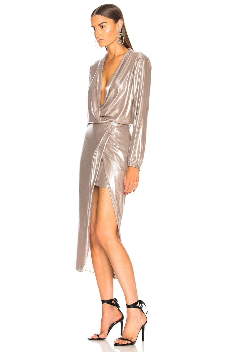 Image 3 of Michelle Mason Long Sleeve Wrap Dress in Oyster