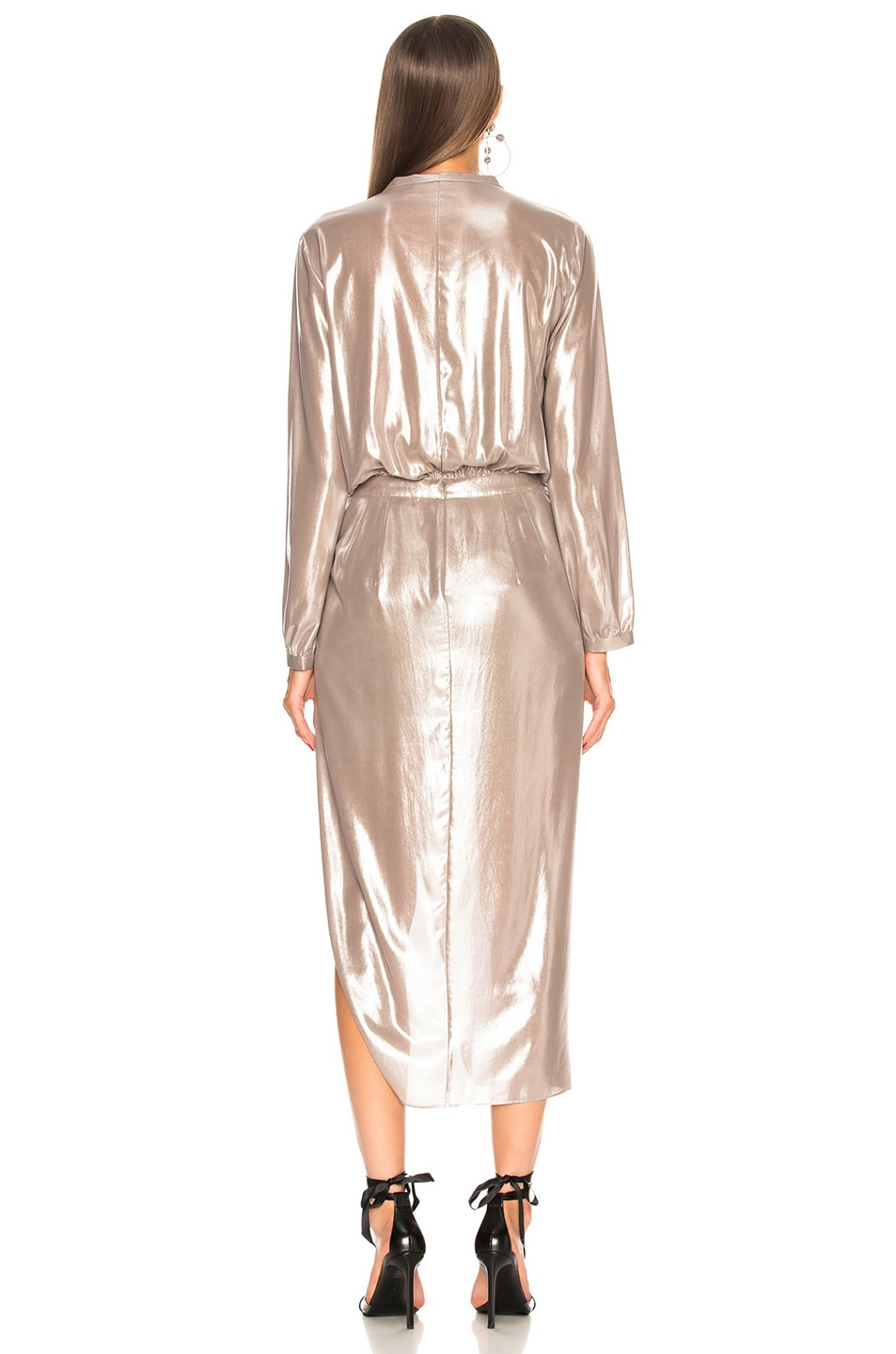 Image 4 of Michelle Mason Long Sleeve Wrap Dress in Oyster