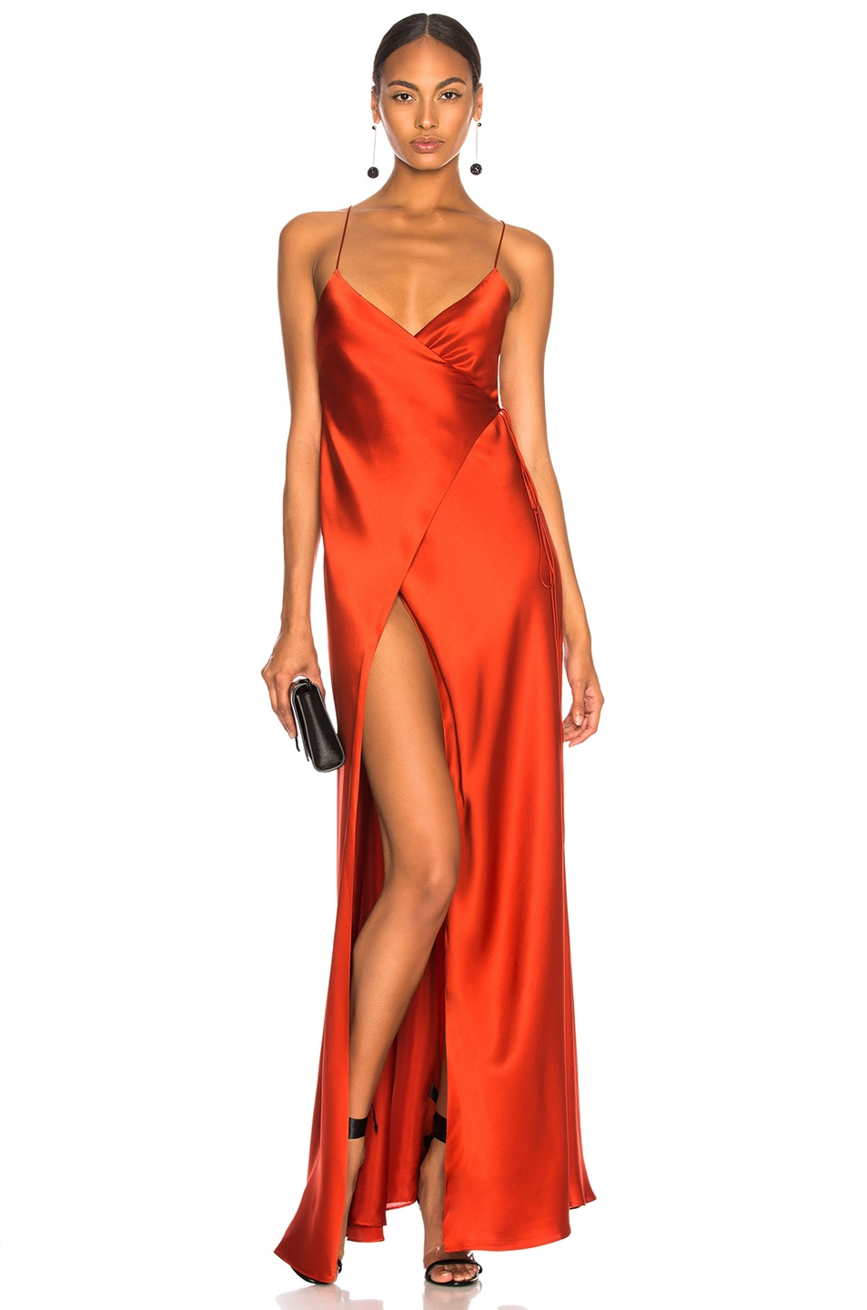 0807c79a27fe4 Image 1 of Michelle Mason for FWRD Strappy Wrap Gown in Vermillion