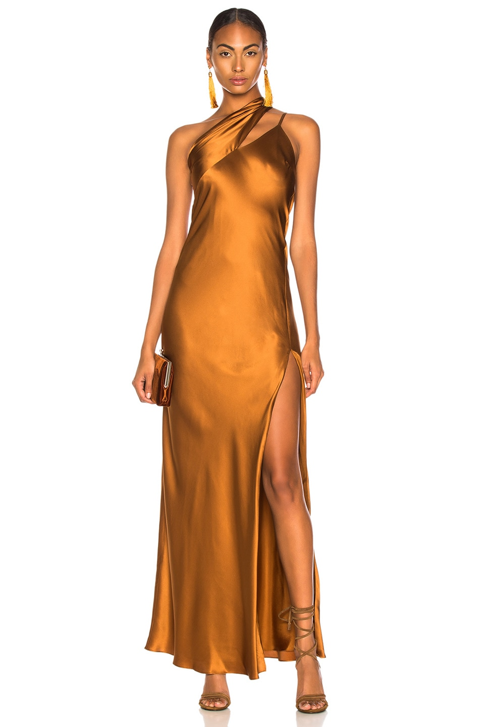 68d9e8d7e08f9 Image 1 of Michelle Mason One Shoulder Gown With Tie in Toffee