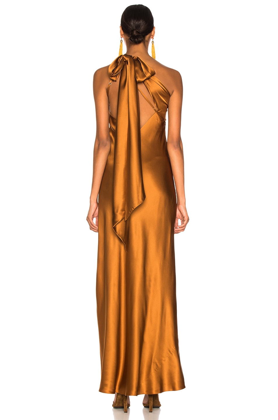 6a9060d3af626 Image 4 of Michelle Mason One Shoulder Gown With Tie in Toffee
