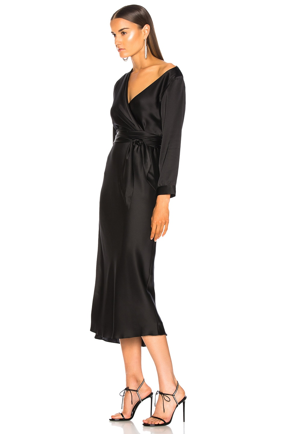 Image 3 of Michelle Mason Asymmetrical Dress With Tie in Black