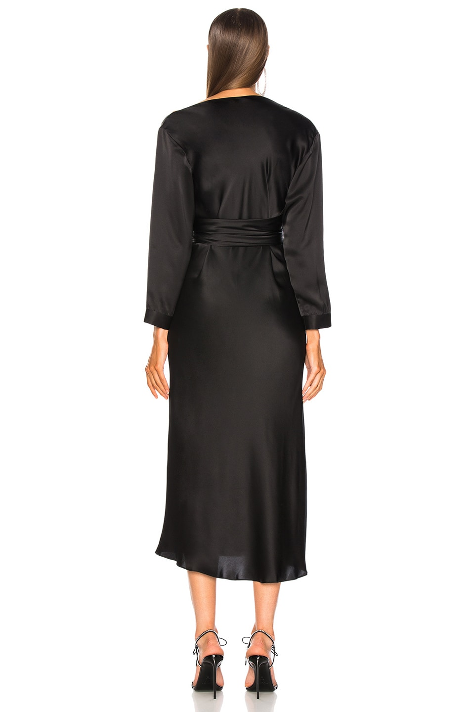 Image 4 of Michelle Mason Asymmetrical Dress With Tie in Black