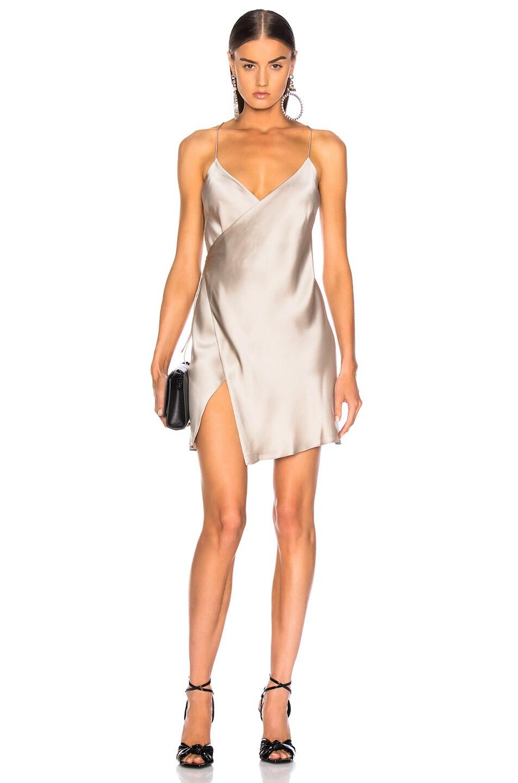 Image 1 of Michelle Mason for FWRD Strappy Wrap Mini Dress in Champagne Satin