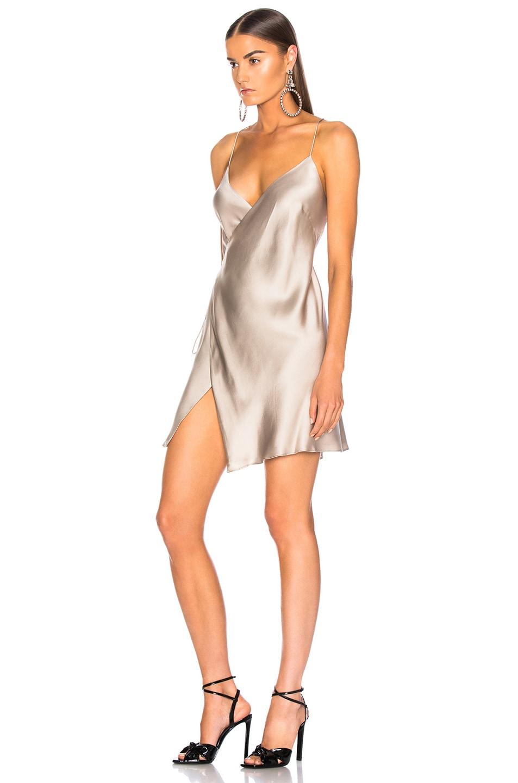 Image 3 of Michelle Mason for FWRD Strappy Wrap Mini Dress in Champagne Satin