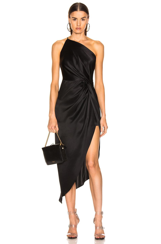 Image 1 Of Michelle Mason For Fwrd Twist Knot Midi Dress In Black