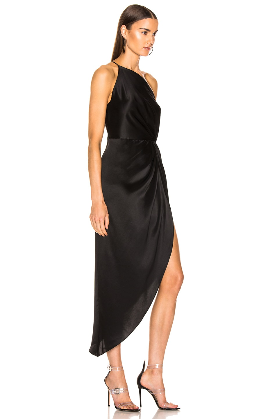 Image 2 of Michelle Mason for FWRD Twist Knot Midi Dress in Black