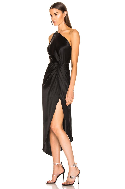 Image 3 of Michelle Mason for FWRD Twist Knot Midi Dress in Black