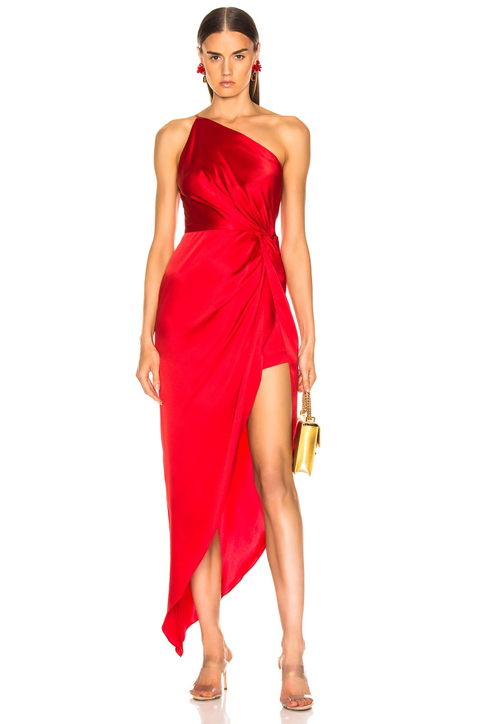 Image 1 of Michelle Mason for FWRD Twist Knot Gown in Red