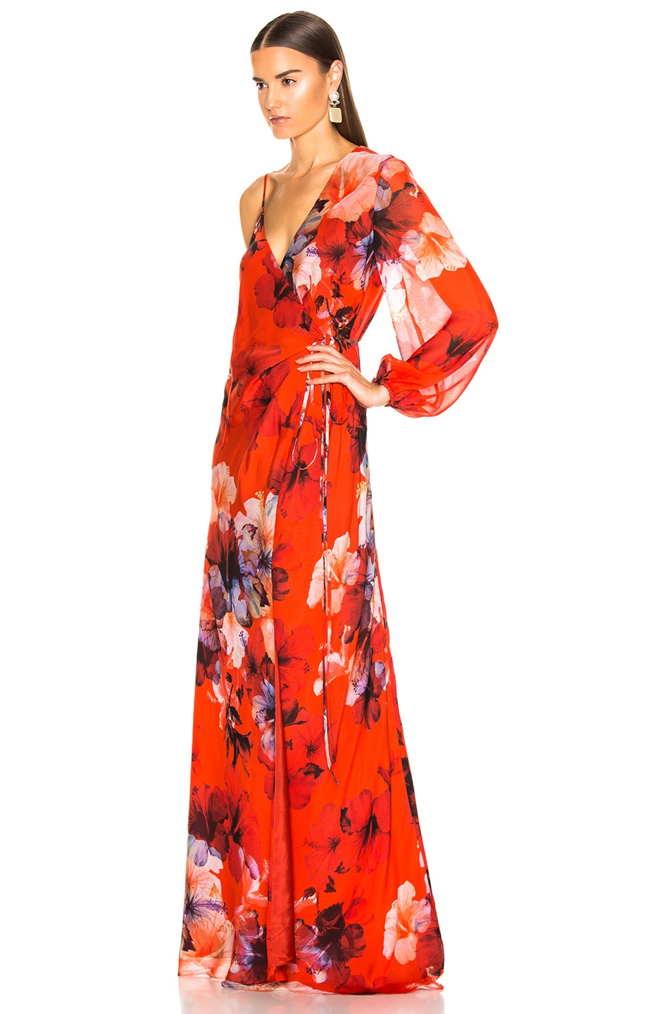 Image 3 of Michelle Mason Asymmetrical Wrap Gown in Cayenne Print