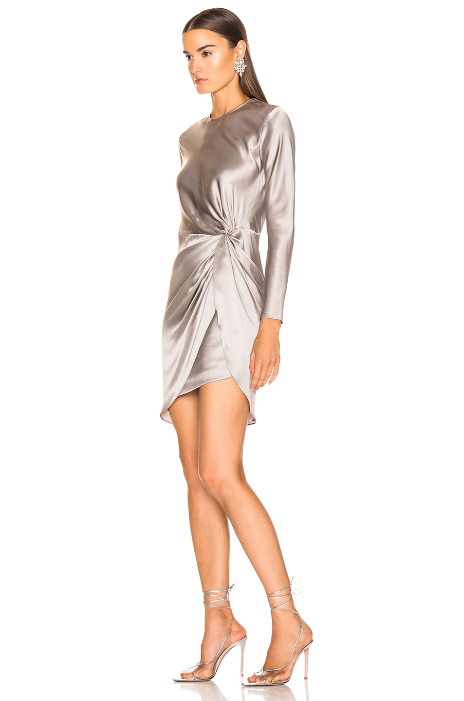 Image 3 of Michelle Mason Twist Knot Mini Dress in Ash