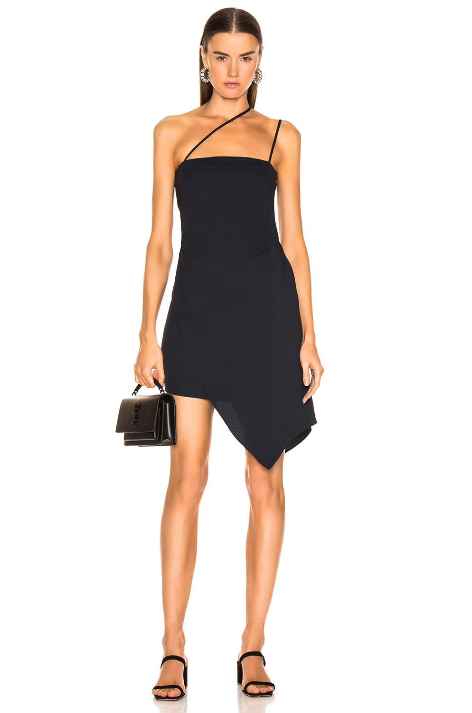 Image 1 of Michelle Mason for FWRD Asymmetrical Strap Dress in Midnight