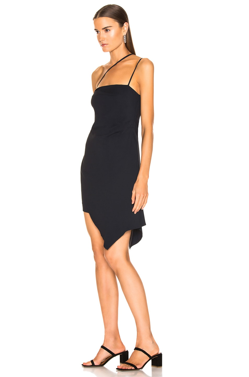 Image 3 of Michelle Mason for FWRD Asymmetrical Strap Dress in Midnight