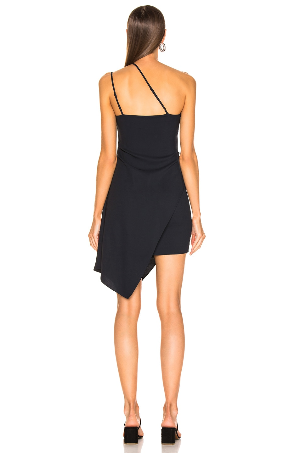 Image 4 of Michelle Mason for FWRD Asymmetrical Strap Dress in Midnight