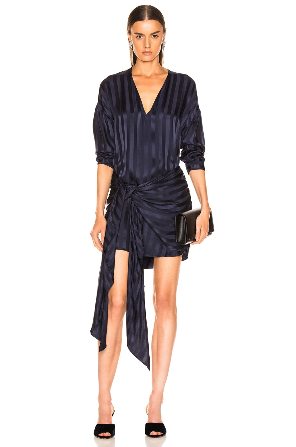 Michelle Mason Dresses MICHELLE MASON LONG SLEEVE WRAP DRESS IN BLACK CURRANT