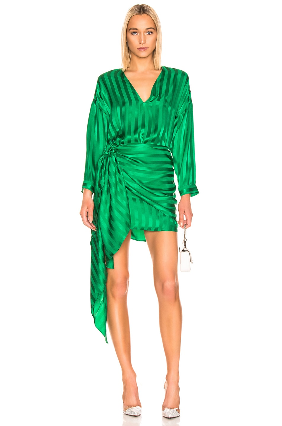 Image 1 of Michelle Mason Long Sleeve Wrap Dress in Green