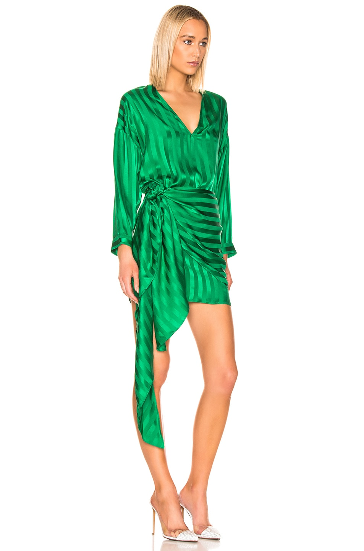 Image 2 of Michelle Mason Long Sleeve Wrap Dress in Green