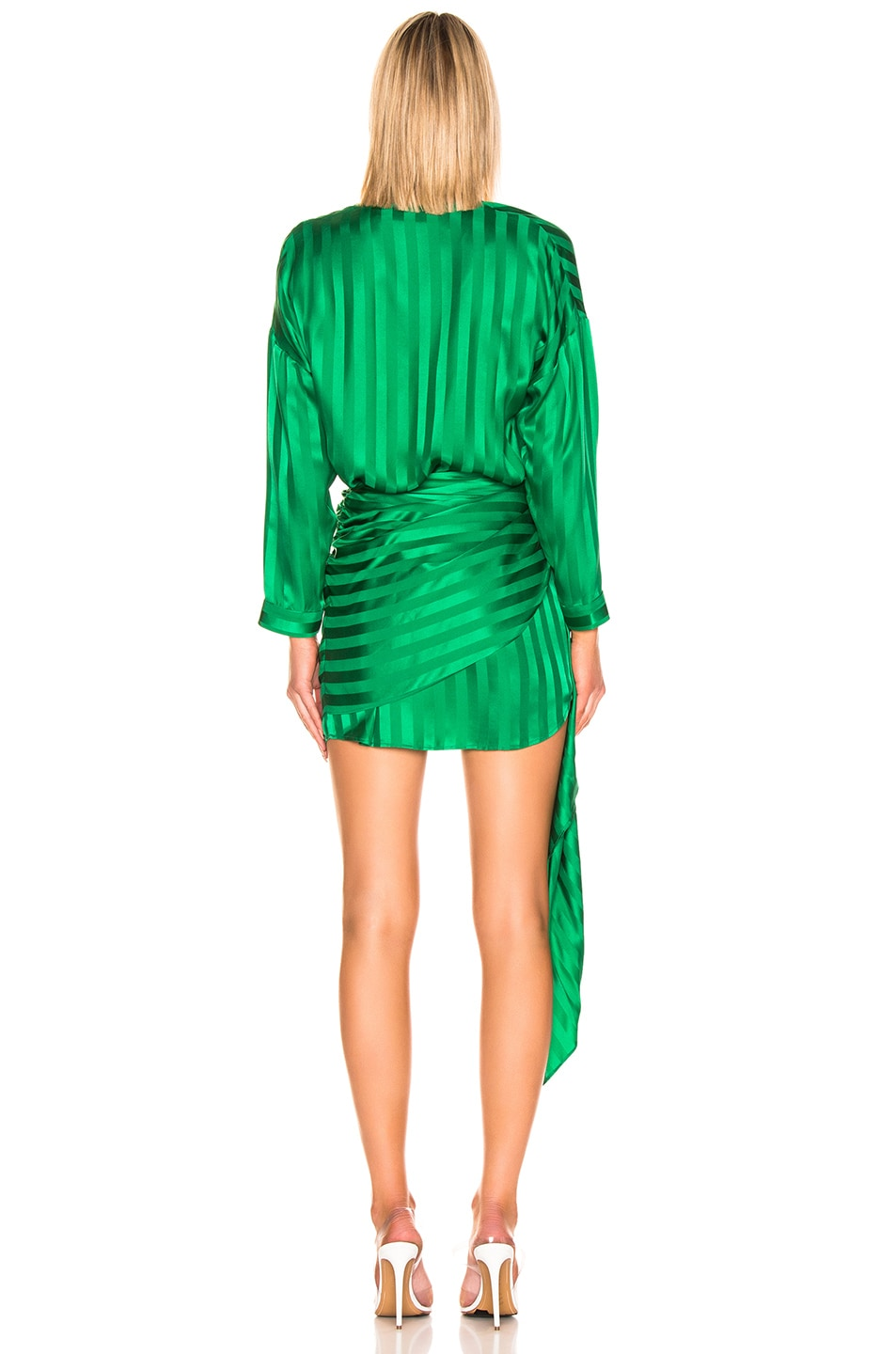 Image 3 of Michelle Mason Long Sleeve Wrap Dress in Green