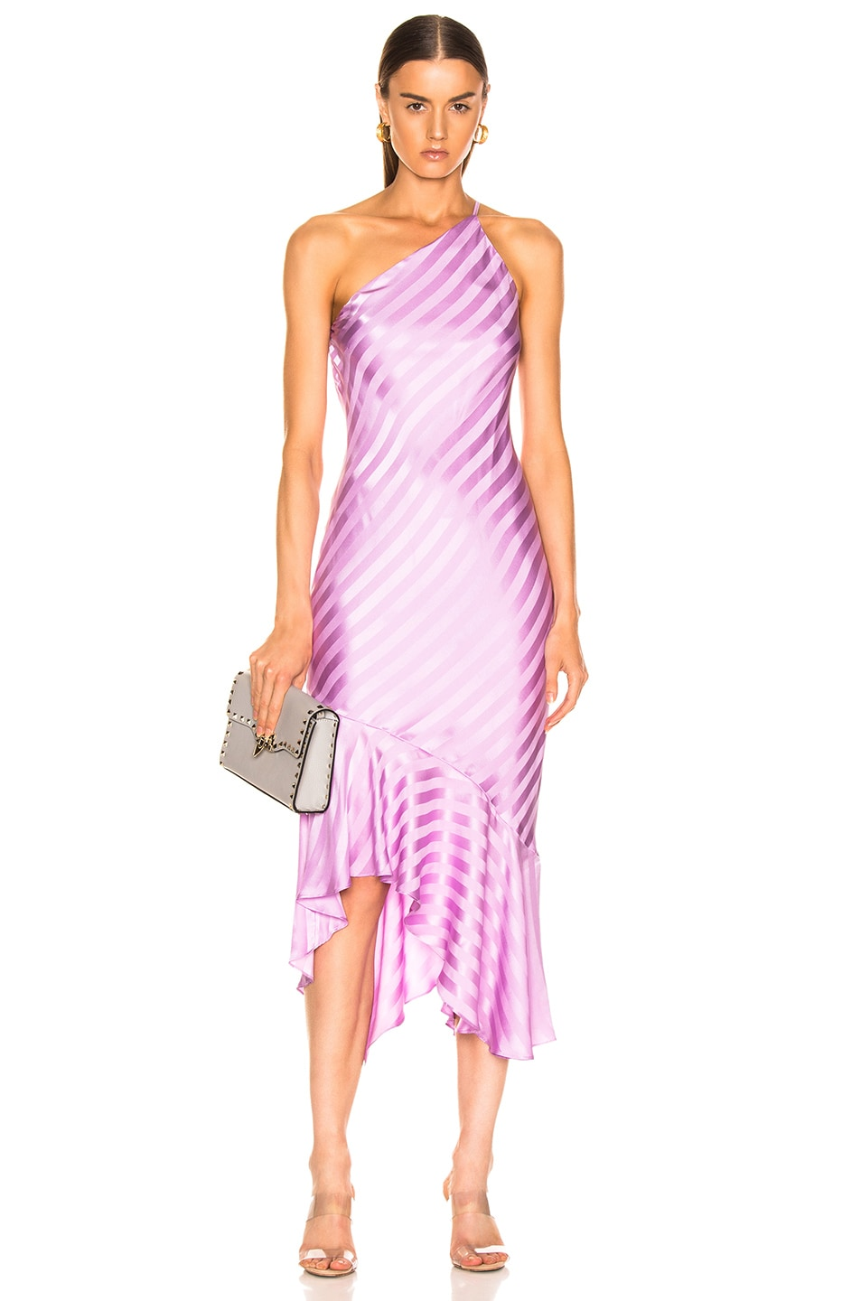 Image 1 of Michelle Mason One Shoulder Ruffle Hem Dress in Lilac