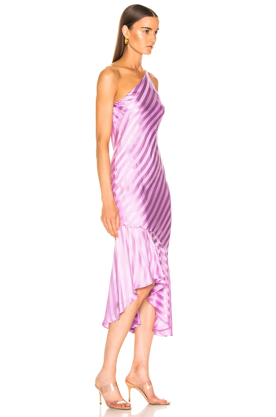 Image 2 of Michelle Mason One Shoulder Ruffle Hem Dress in Lilac