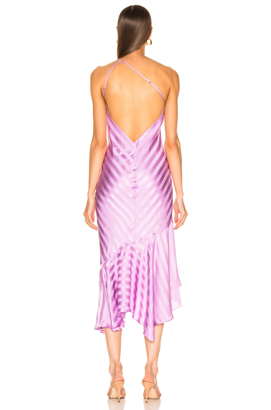 Image 3 of Michelle Mason One Shoulder Ruffle Hem Dress in Lilac