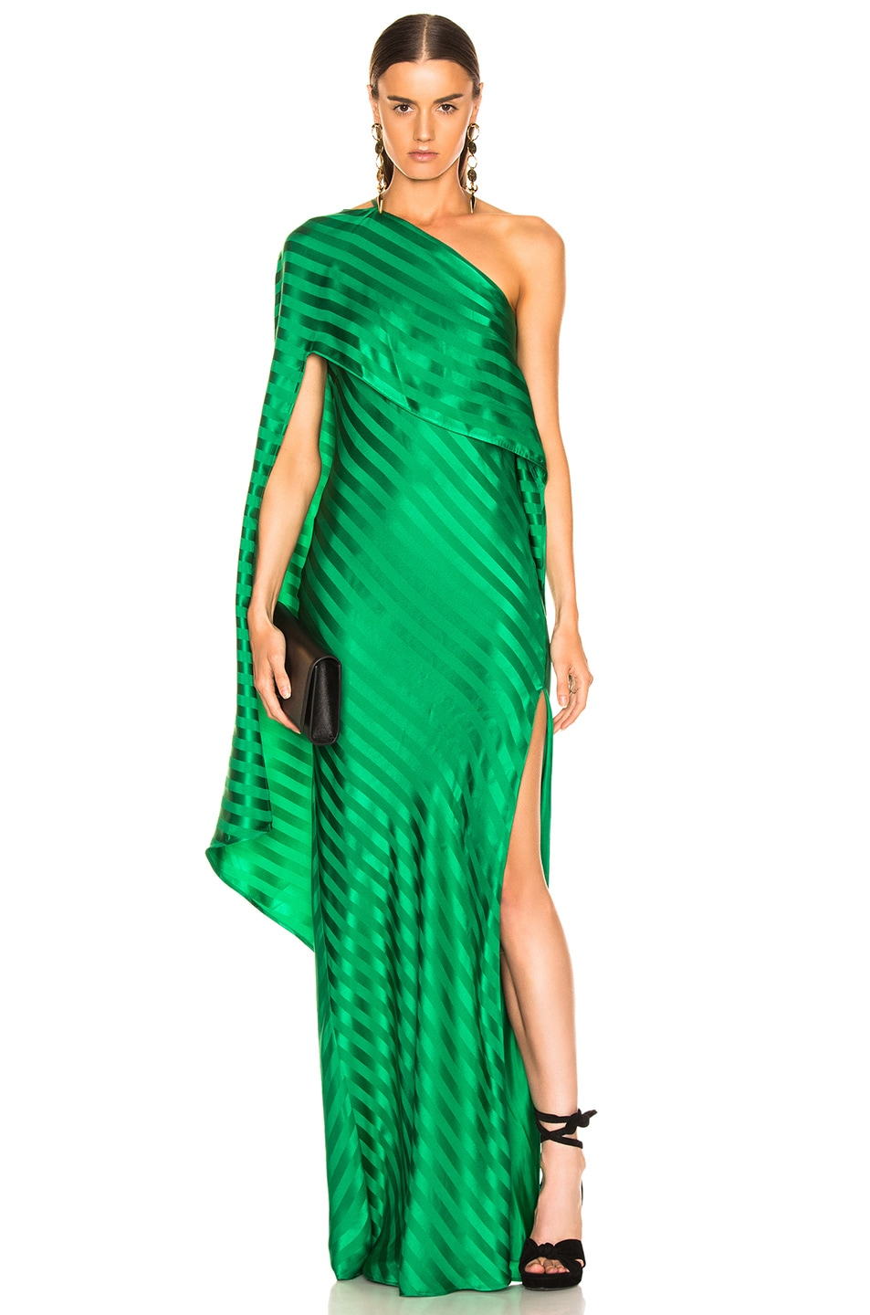 Image 1 of Michelle Mason One Shoulder Cape Gown in Green