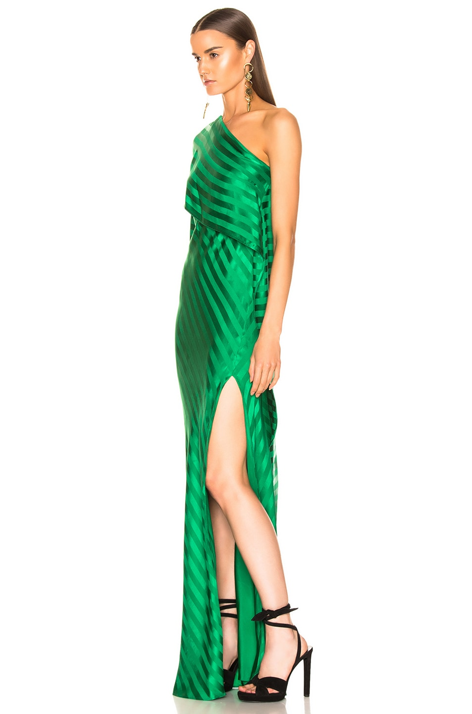 Image 3 of Michelle Mason One Shoulder Cape Gown in Green