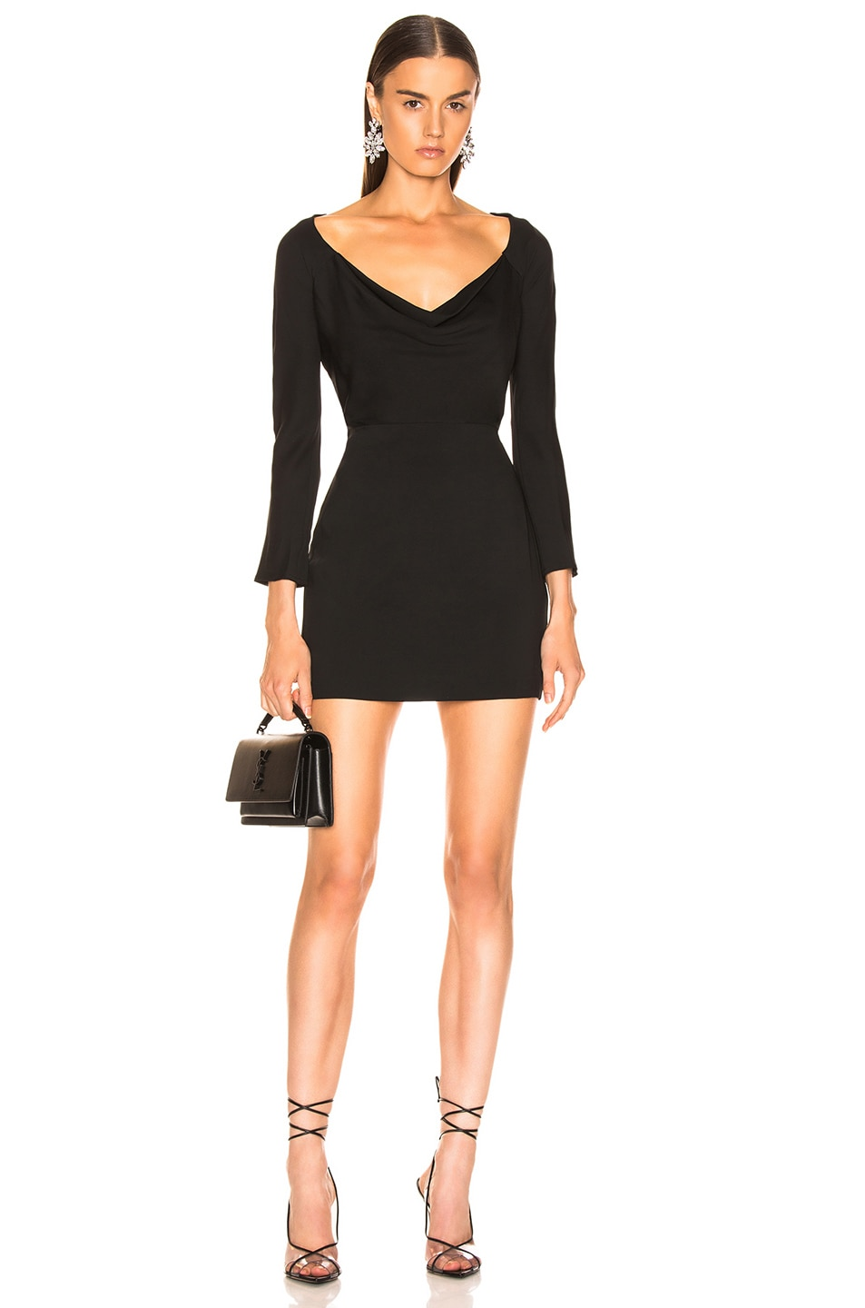 Image 1 of Michelle Mason Off Shoulder Cowl Dress in Black