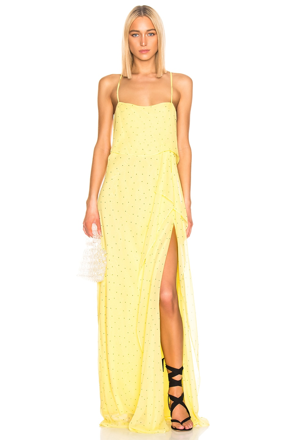 Image 1 of Michelle Mason Double Layer Gown in Lemon