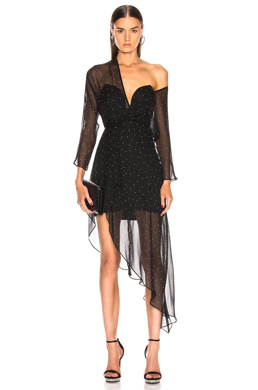 Image 1 of Michelle Mason Bustier Off Shoulder Dress in Black