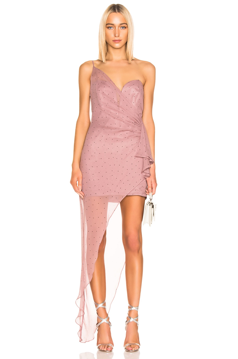 Image 1 of Michelle Mason Bustier Draped Gown in Mauve