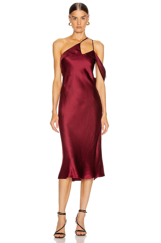 Image 1 of Michelle Mason Midi Dress with Arm Drape in Wine