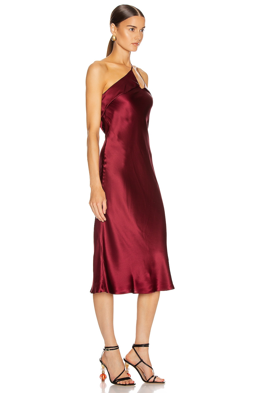 Image 2 of Michelle Mason Midi Dress with Arm Drape in Wine
