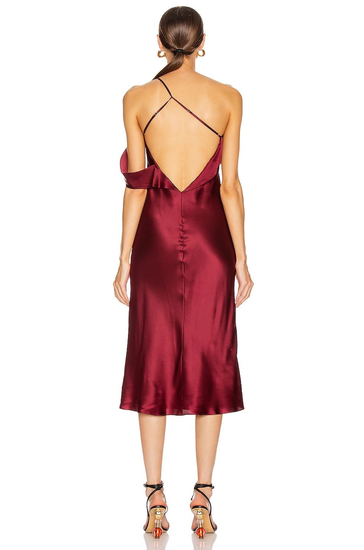 Image 4 of Michelle Mason Midi Dress with Arm Drape in Wine