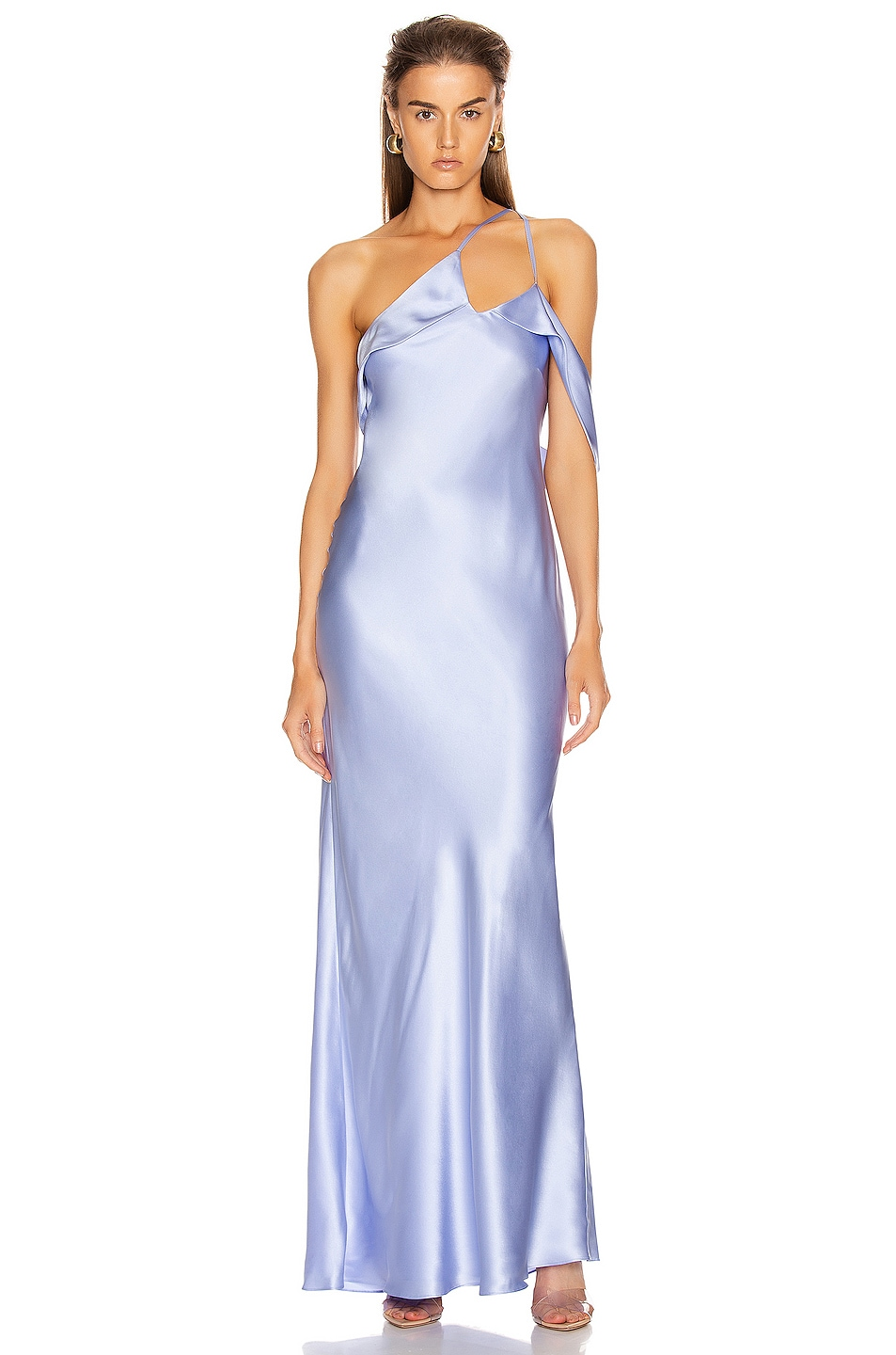 Image 1 of Michelle Mason Gown with Arm Drape in Ice