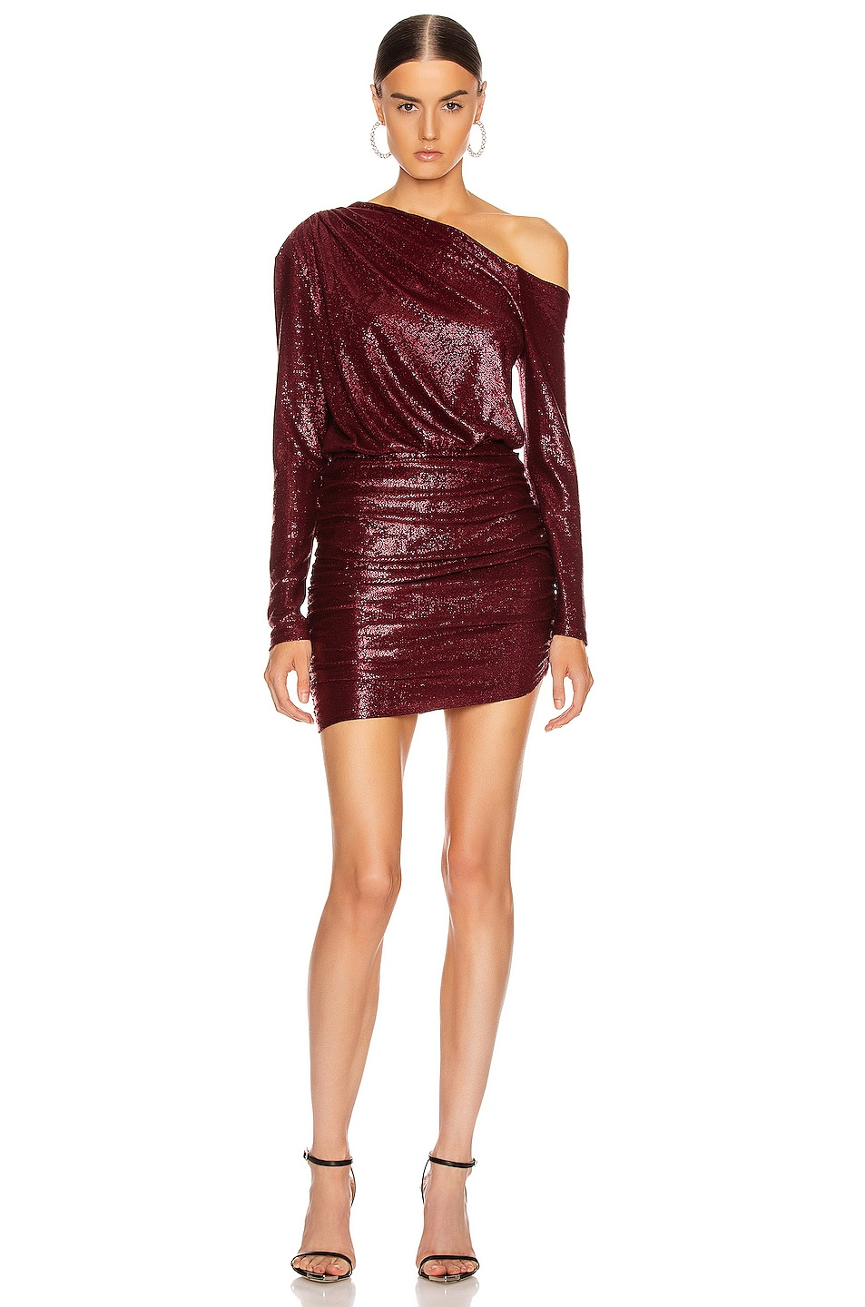 Image 1 of Michelle Mason One Sleeve Mini Dress in Wine