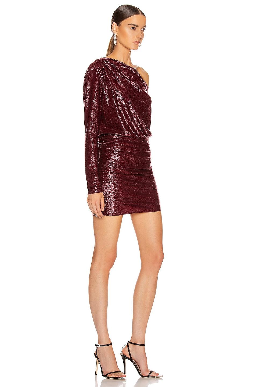 Image 2 of Michelle Mason One Sleeve Mini Dress in Wine