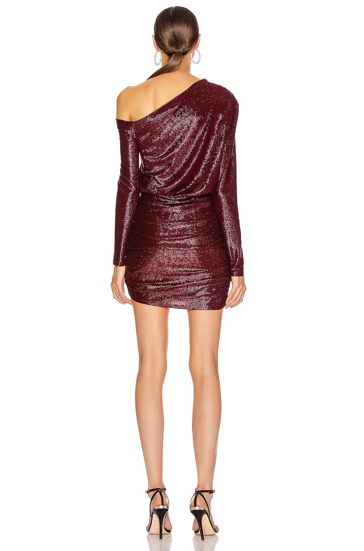 Image 3 of Michelle Mason One Sleeve Mini Dress in Wine