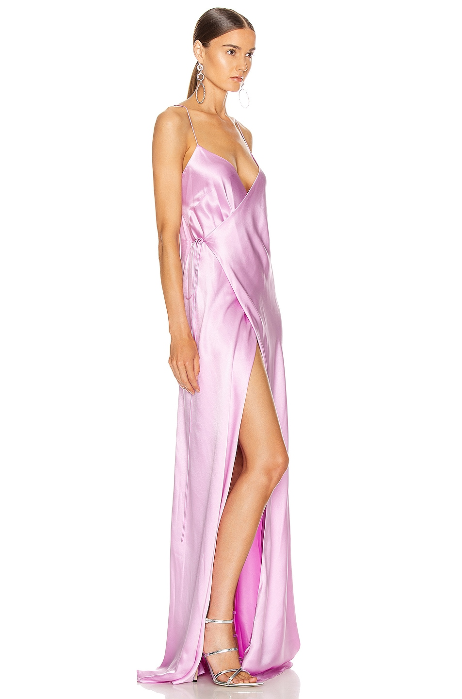 Image 2 of Michelle Mason for FWRD Strappy Wrap Gown in Bubblegum