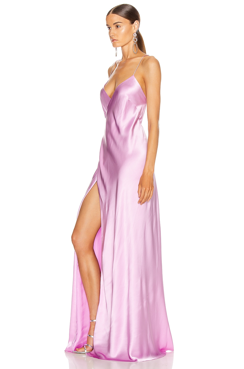 Image 3 of Michelle Mason for FWRD Strappy Wrap Gown in Bubblegum