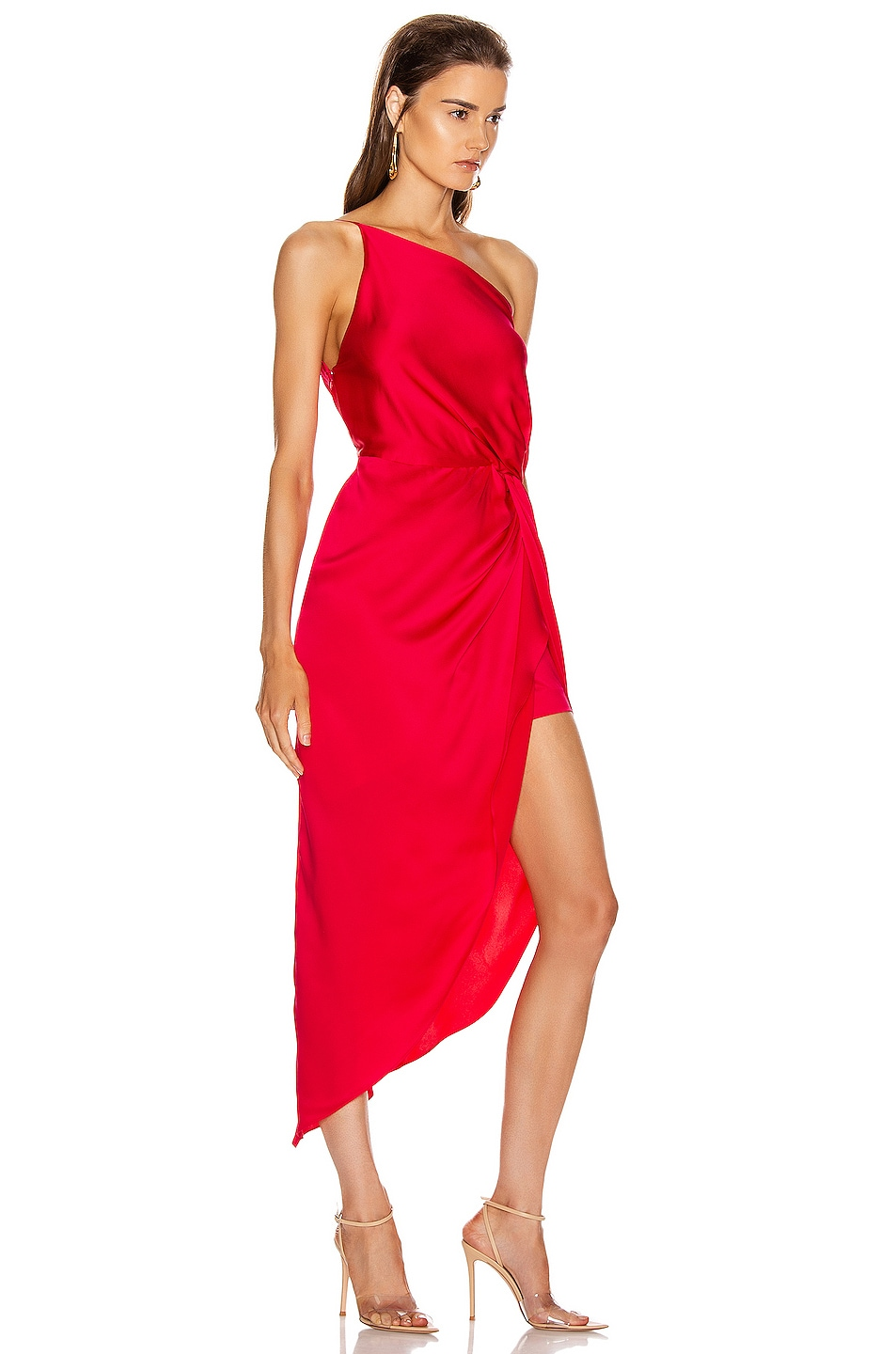 Image 2 of Michelle Mason for FWRD Twist Knot Midi Dress in Peony