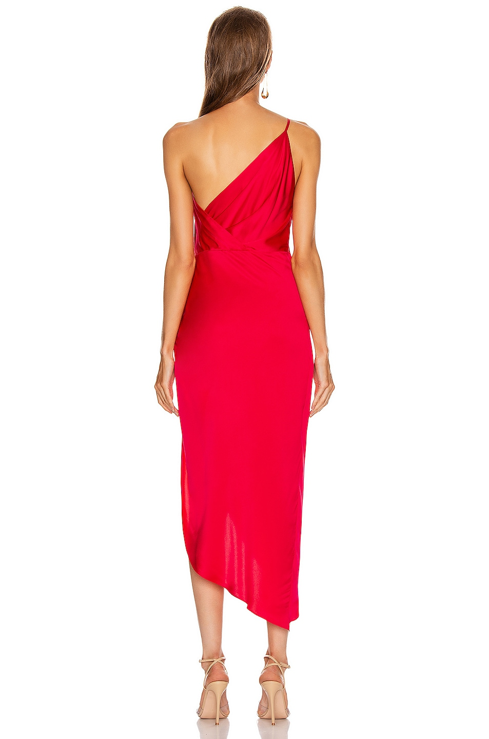 Image 4 of Michelle Mason for FWRD Twist Knot Midi Dress in Peony