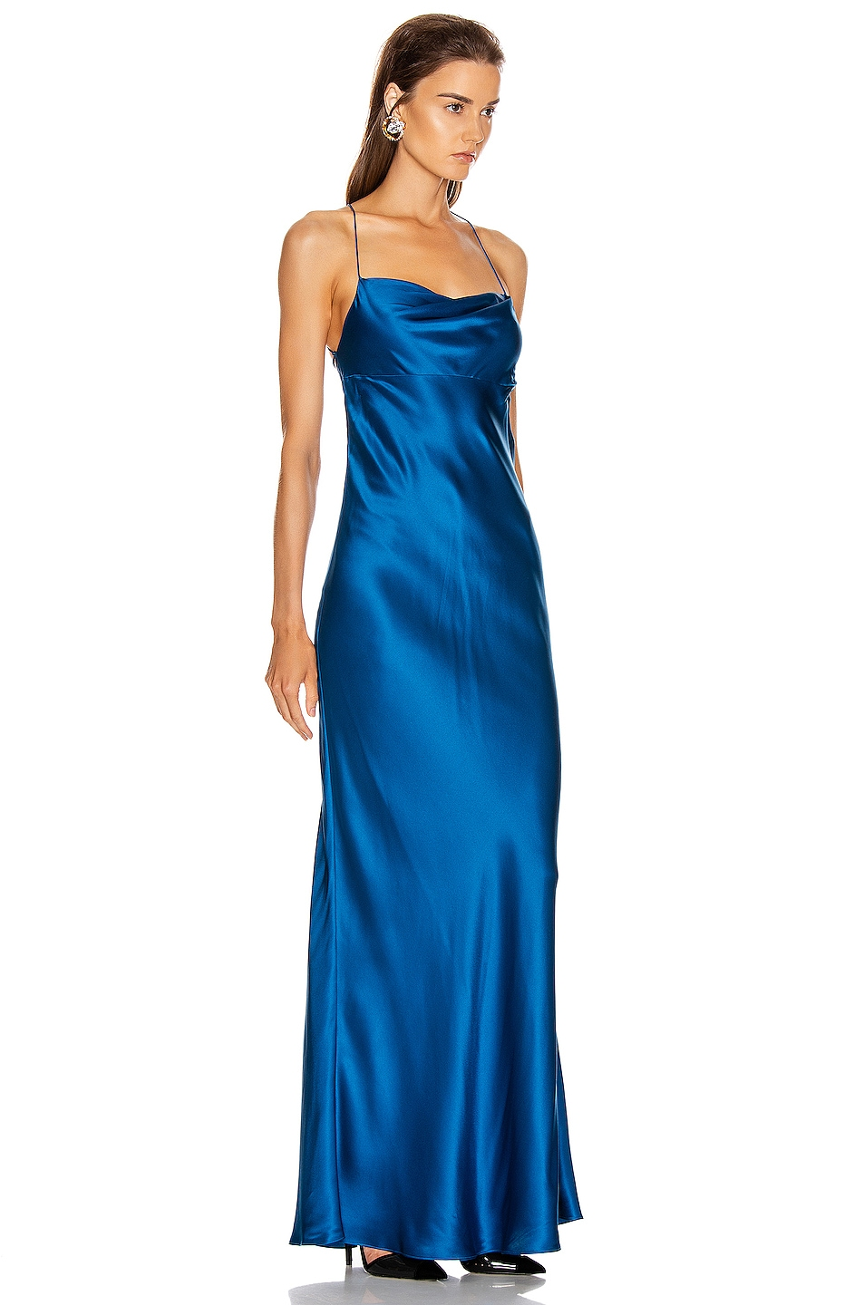 Image 2 of Michelle Mason Cowl Bias Gown in Marine