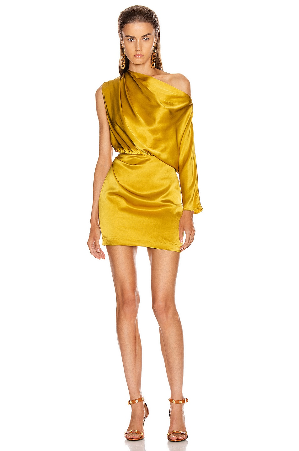 Image 1 of Michelle Mason One Sleeve Draped Mini Dress in Dijon