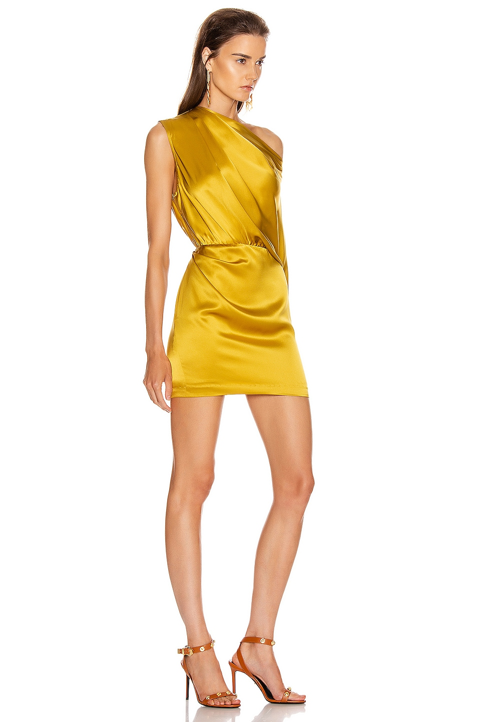 Image 2 of Michelle Mason One Sleeve Draped Mini Dress in Dijon