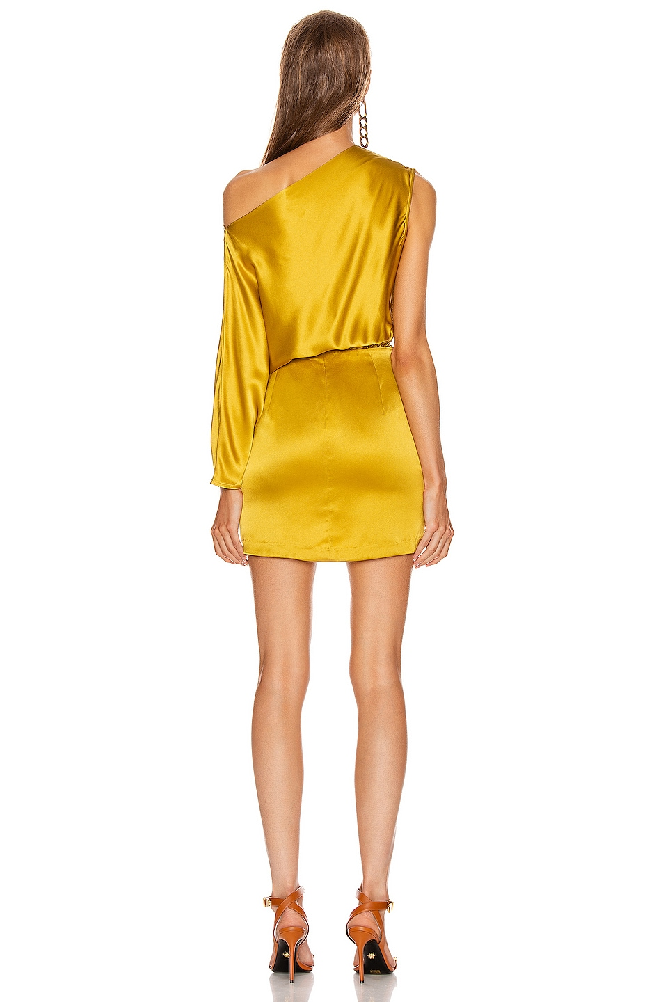 Image 4 of Michelle Mason One Sleeve Draped Mini Dress in Dijon